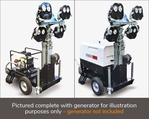 Pictured complete with generator for illustration purposes only – generator not included