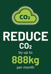 reduce co2 by up to 888kg per month*
